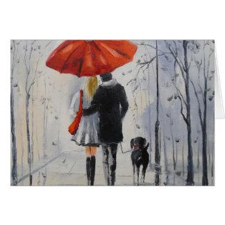 Walking in the rain card