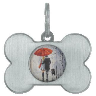 Walking in the rain pet tag