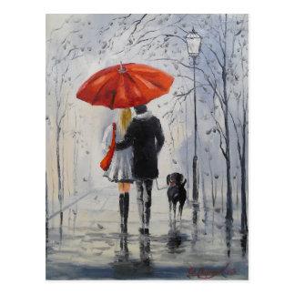 Walking in the rain postcard