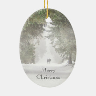 Walking in the Snow Ceramic Ornament