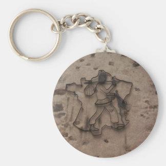 Walking Man street art from Limoges Basic Round Button Key Ring
