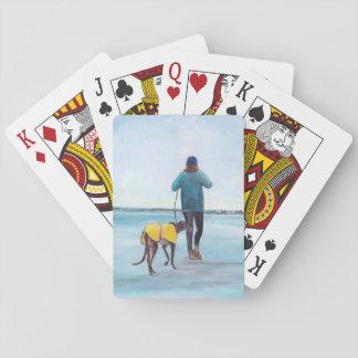 Walking My Greyhound Dog Art Playing Cards