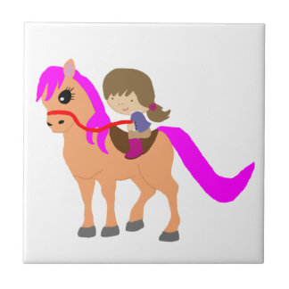Walking on my pony ceramic tile