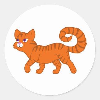 Walking Orange Cat Round Sticker