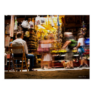 Walking people in Naples Poster