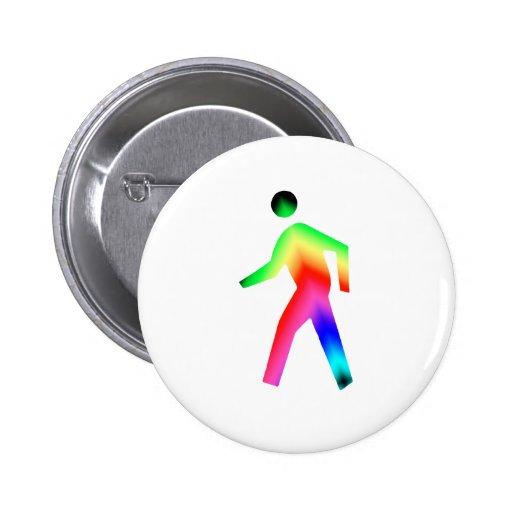 Walking Rainbow Man Pinback Buttons