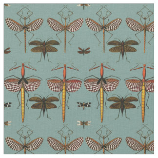 Walking sticks, Katydids and Dragonflies Fabric