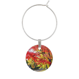 Walking The Dog In Autumn Wine Glass Charm