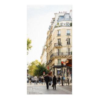 Walking through a parisian street personalized photo card