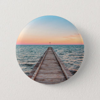 Walking towards the infinity of the sea 6 cm round badge