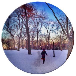 Walking Under A Winter Sunset Porcelain Plate