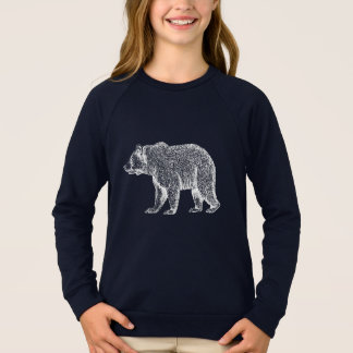 Walking White Bear Long Sleeved Girls Tee