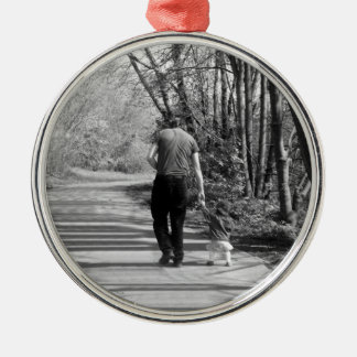 Walking With Daddy Metal Ornament