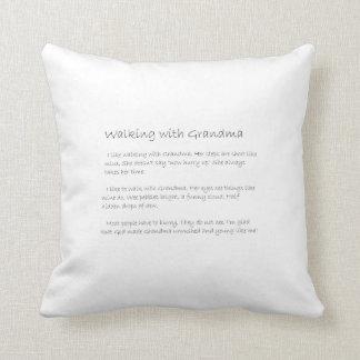 walking with grandma cushion