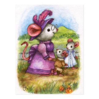 Walking with Grandma - Cute Mouse Art Postcard