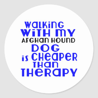 Walking With My Afghan Hound Dog Designs Classic Round Sticker