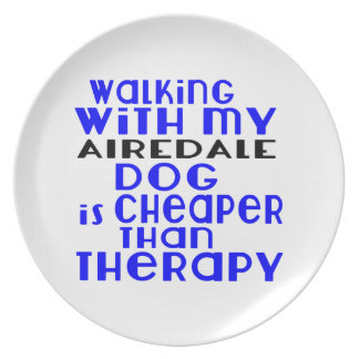 Walking With My AIREDALE Dog Designs Dinner Plate
