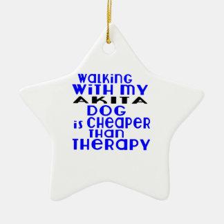 Walking With My AKITA Dog Designs Ceramic Star Decoration