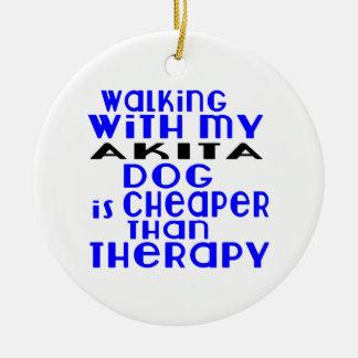 Walking With My AKITA Dog Designs Round Ceramic Decoration