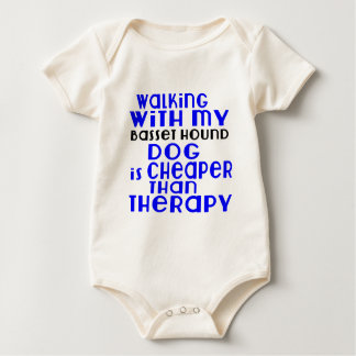 Walking With My Basset Hound Dog Designs Baby Bodysuit