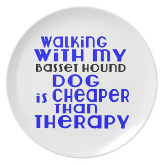 Walking With My Basset Hound Dog Designs Plate