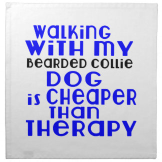 Walking With My Bearded Collie Dog Designs Napkin
