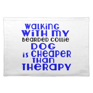 Walking With My Bearded Collie Dog Designs Placemat