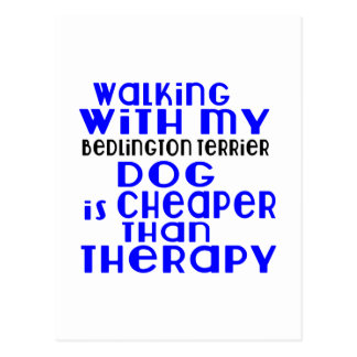 Walking With My Bedlington Terrier Dog Designs Postcard