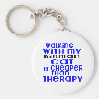 Walking With My Birman Cat Designs Basic Round Button Key Ring