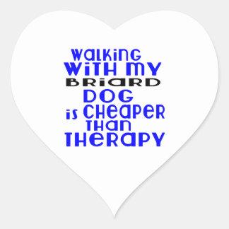 Walking With My Briard Dog Designs Heart Sticker