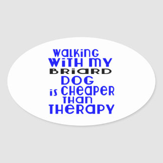 Walking With My Briard Dog Designs Oval Sticker