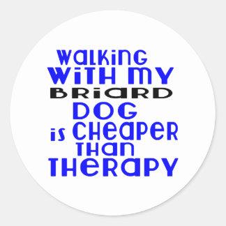 Walking With My Briard Dog Designs Round Sticker