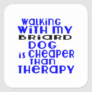 Walking With My Briard Dog Designs Square Sticker