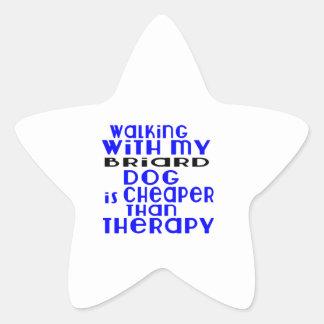 Walking With My Briard Dog Designs Star Sticker