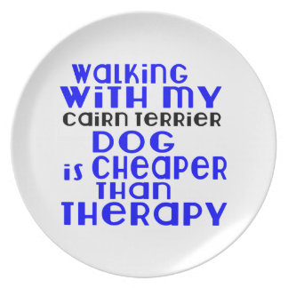 Walking With My Cairn Terrier Dog Designs Plates