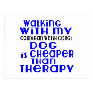 Walking With My Cardigan Welsh Corgi Dog Designs Postcard