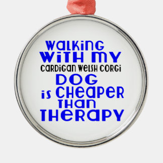 Walking With My Cardigan Welsh Corgi Dog Designs Silver-Colored Round Decoration