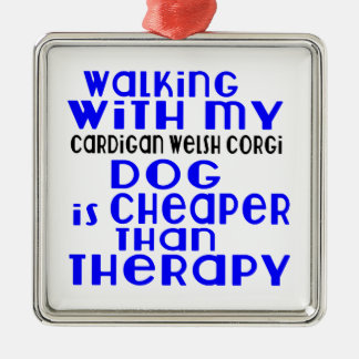 Walking With My Cardigan Welsh Corgi Dog Designs Silver-Colored Square Decoration