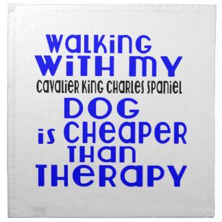 Walking With My Cavalier King Charles Spaniel Dog Napkin