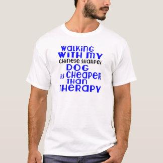 Walking With My Chinese Sharpei Dog Designs T-Shirt