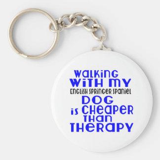 Walking With My English Springer Spaniel Dog  Desi Basic Round Button Key Ring