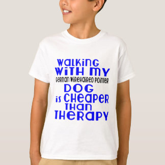Walking With My German Wirehaired Pointer Dog  Des T-Shirt