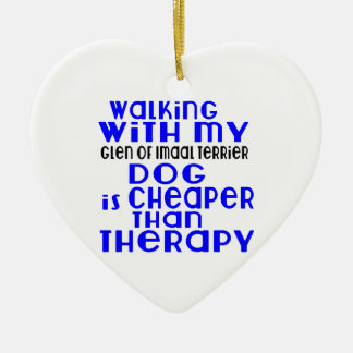 Walking With My Glen of Imaal Terrier Dog  Designs Ceramic Heart Decoration
