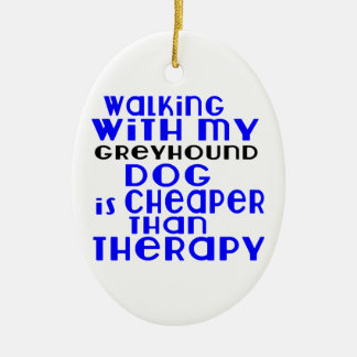 Walking With My Greyhound Dog  Designs Ceramic Oval Decoration