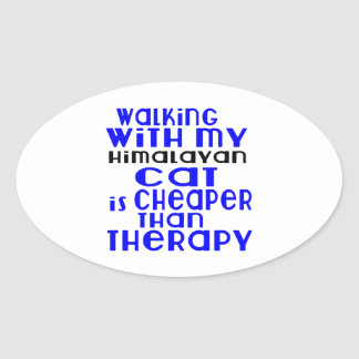 Walking With My Himalayan Cat Designs Oval Sticker