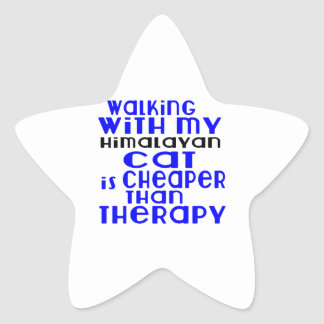 Walking With My Himalayan Cat Designs Star Sticker