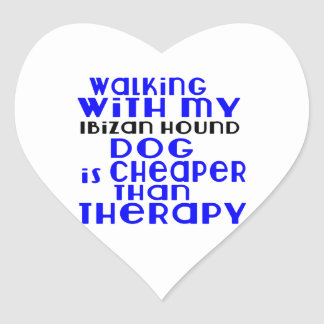 Walking With My Ibizan Hound Dog  Designs Heart Sticker