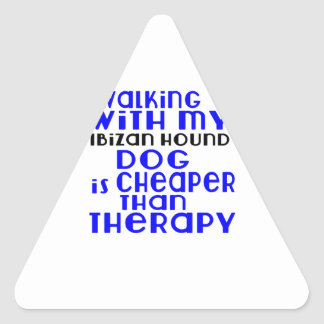 Walking With My Ibizan Hound Dog  Designs Triangle Sticker