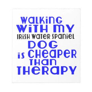Walking With My Irish Water Spaniel Dog  Designs Notepads