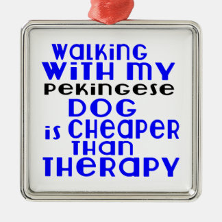 Walking With My Pekingese Dog Designs Silver-Colored Square Decoration
